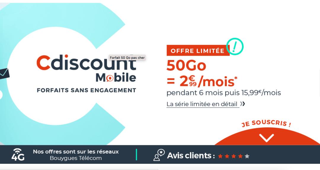 L'offre 50 Go de Cdiscount Mobile