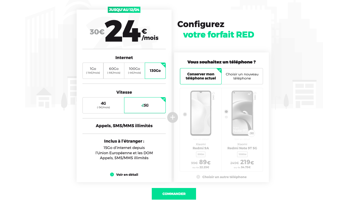 forfaits mobiles red 130 Go