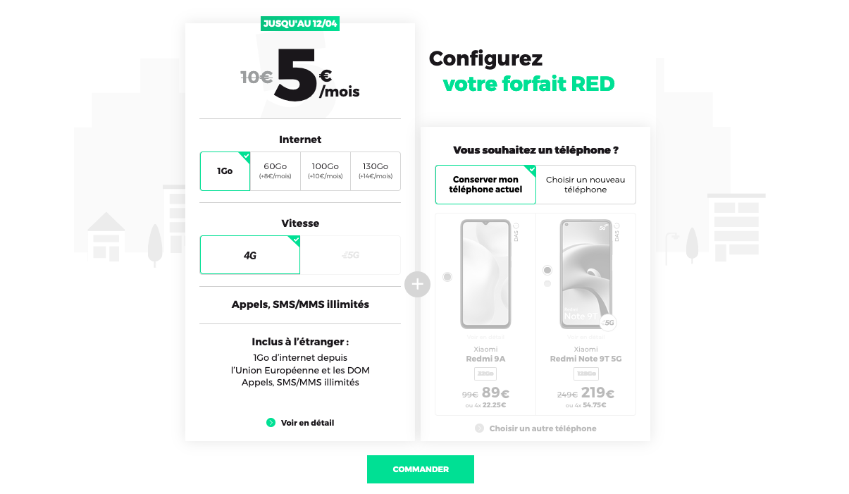 forfaits mobiles red 5go