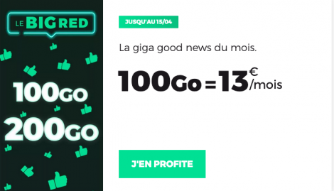 Promo forfait 100 Go RED by SFR.