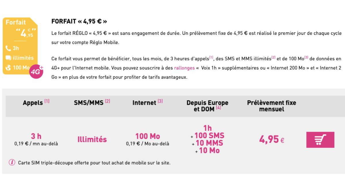 reglo mobile forfait moins de 5 euros