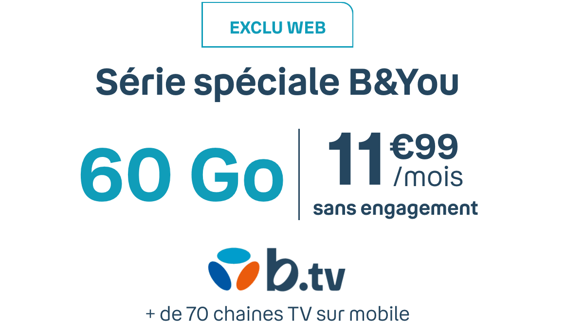 Le forfait mobile 60 Go de B&You.