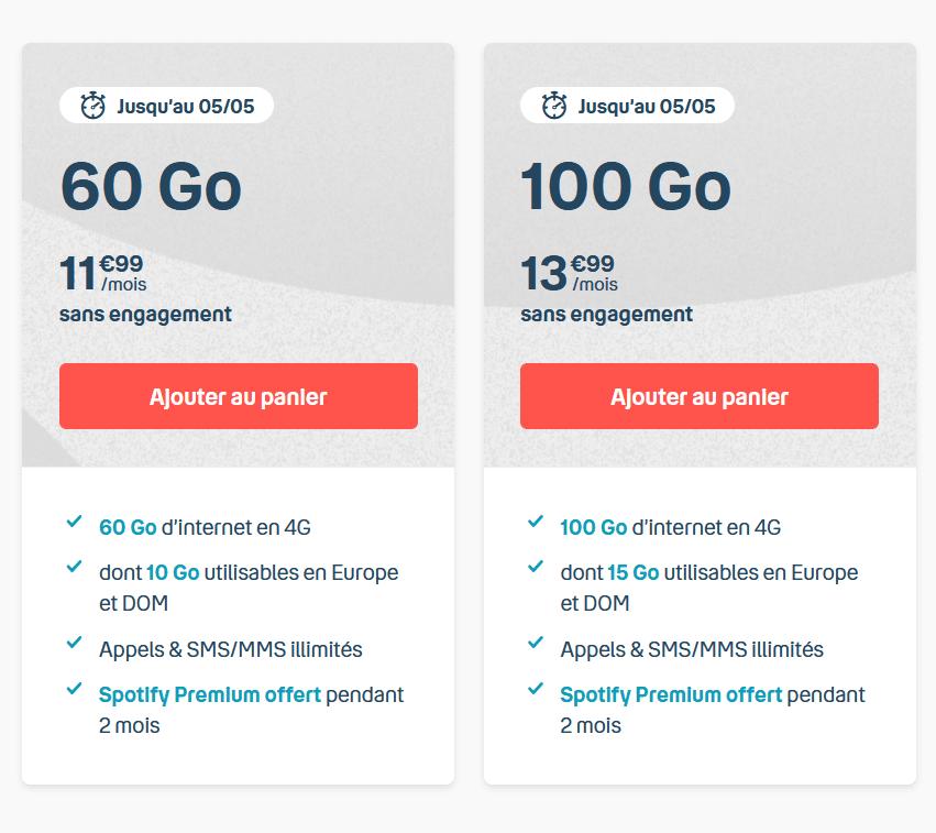 Les forfaits 60 et 100 Go de B&YOU