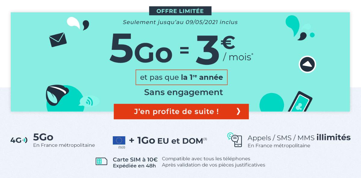 5 Go pour 3€ forfait mobile pas cher Cdiscount.