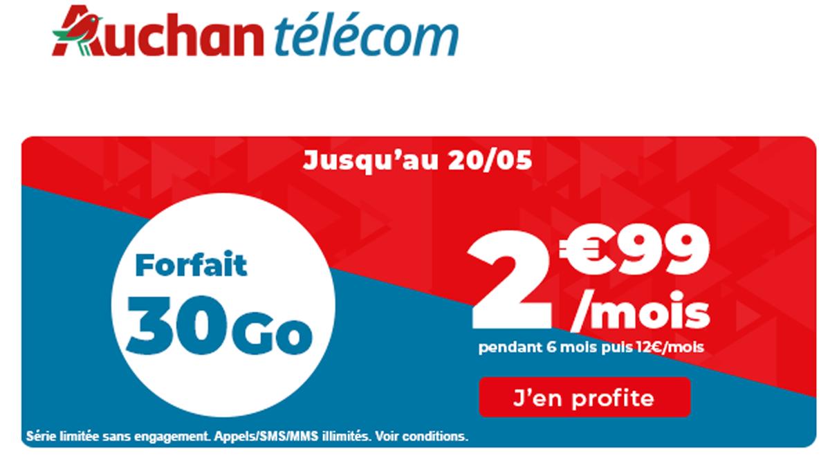 Auchan Telecom forfait 4G promo