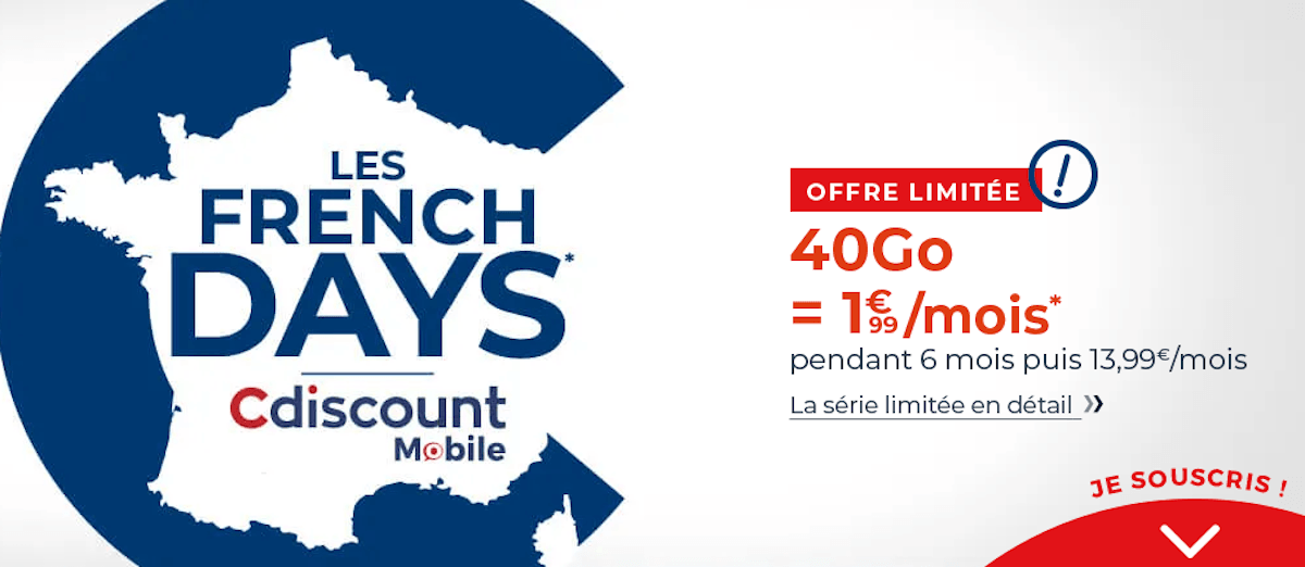 french days cdiscount mobile 40go