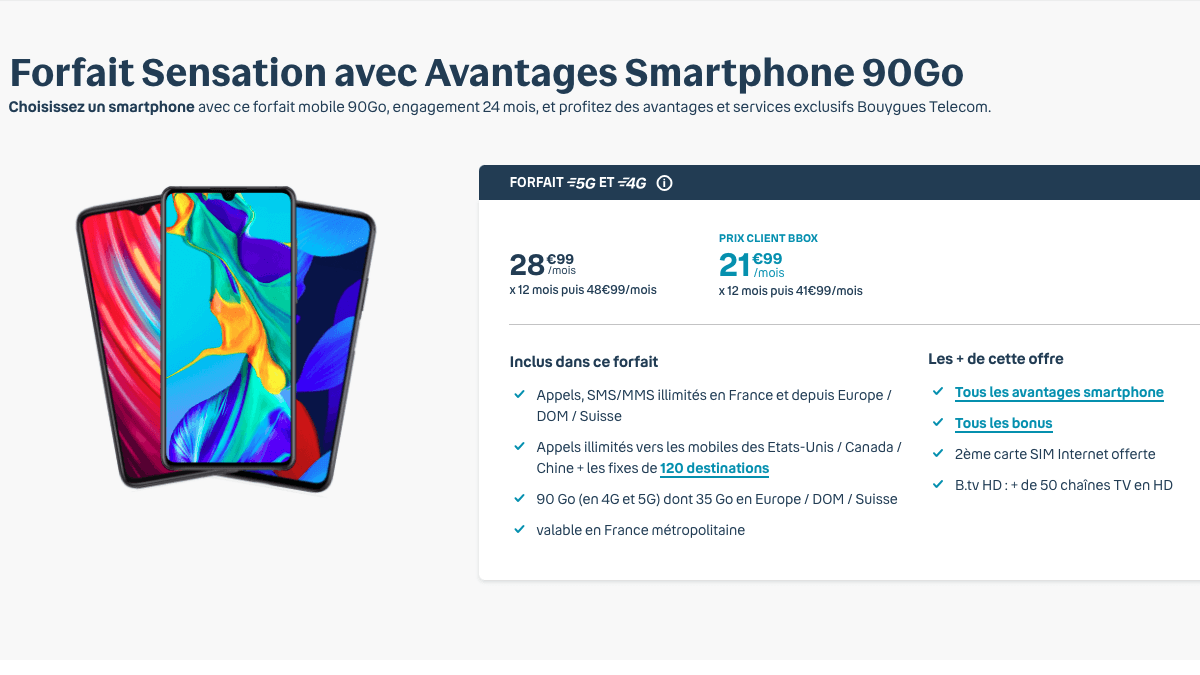 Le forfait Sensation 90 Go