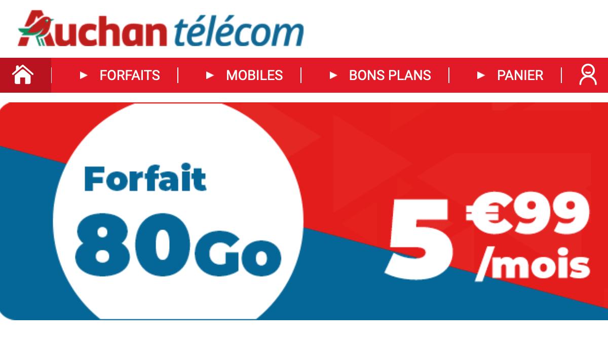 Le forfait 80 Go Auchan Télécom