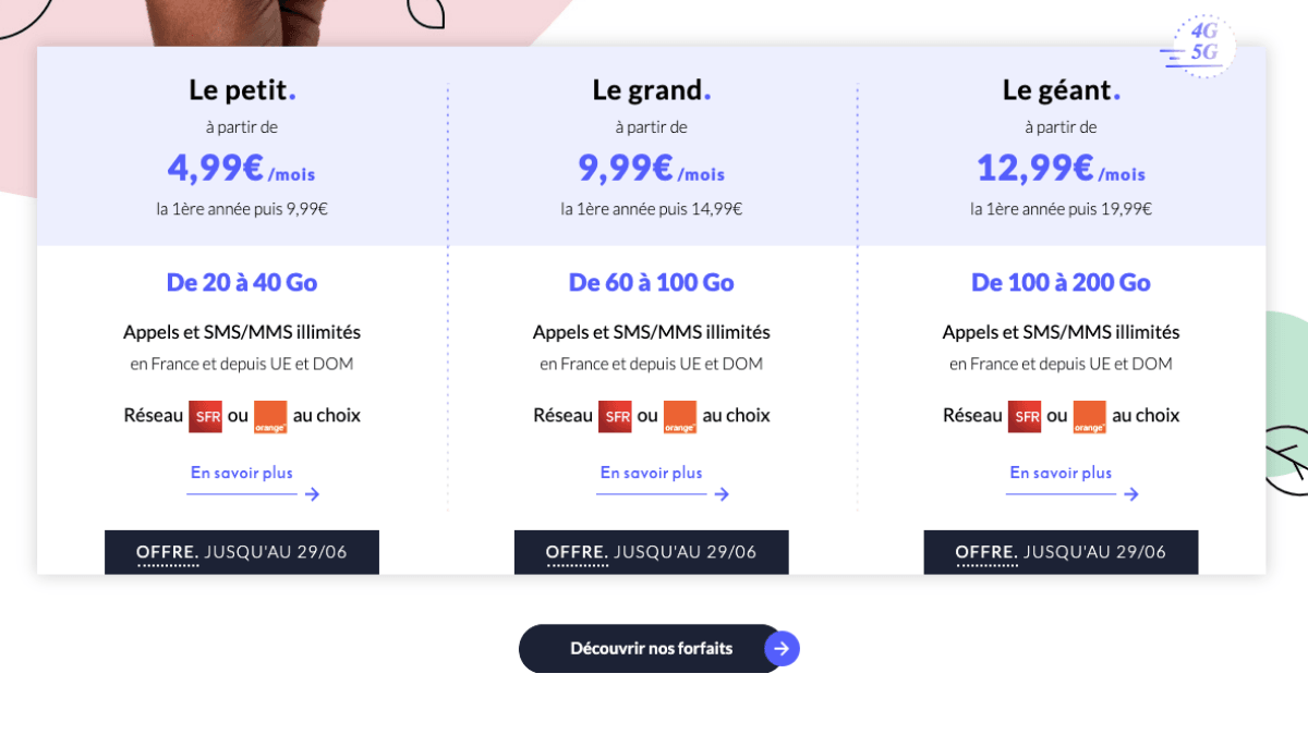 Prixtel 60 Go de 4G forfait prix casses