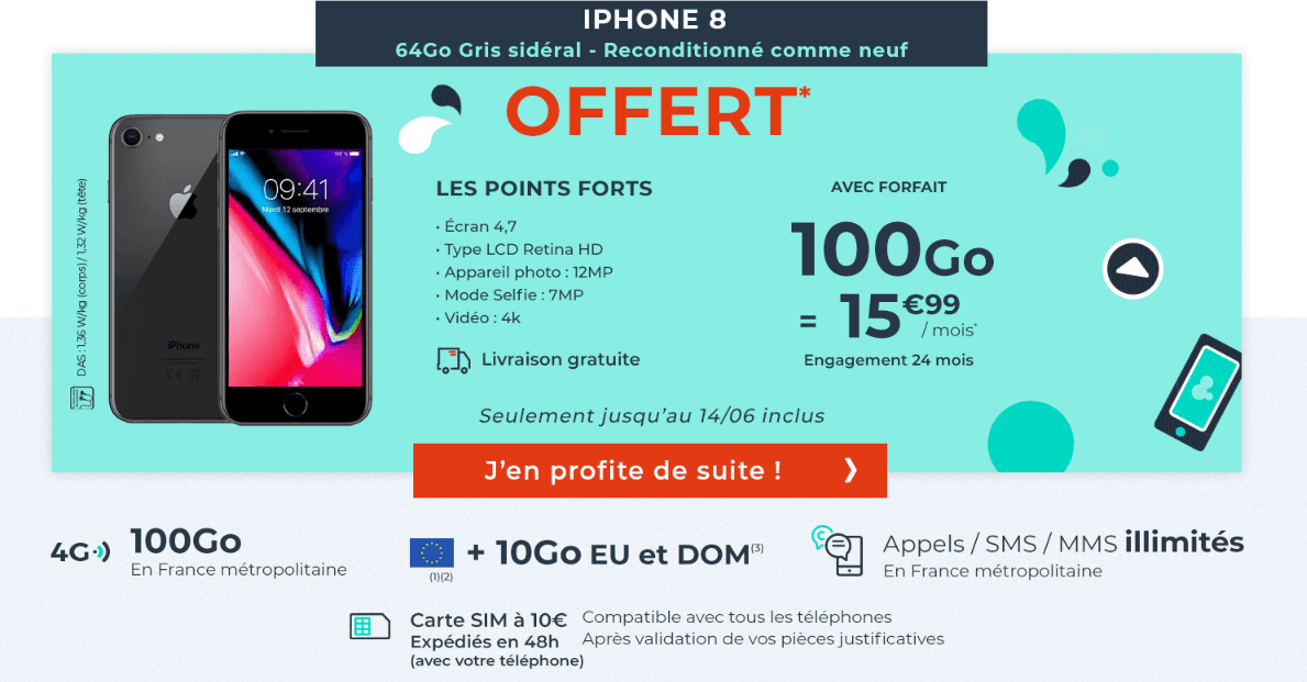 cdiscount mobile promo 100 Go + iPhone 8