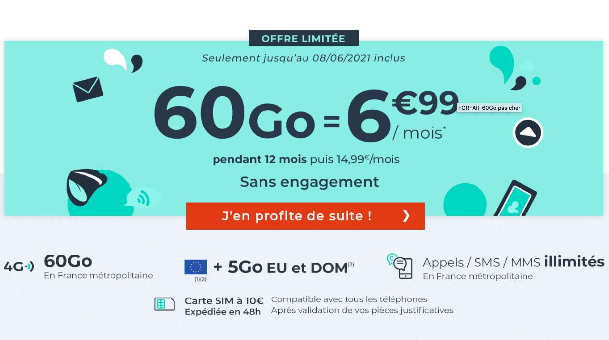 forfait 60 Go cdiscount mobile