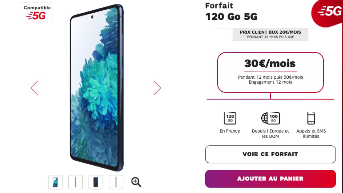 forfait 120 Go 5G de SFR a 30 euros par mois
