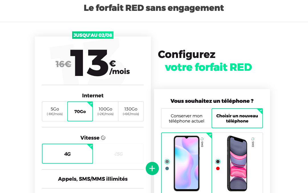 Le forfait 70 Go RED by SFR