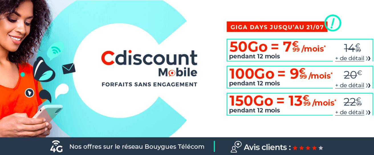Les forfaits 4G de Cdiscount Mobile