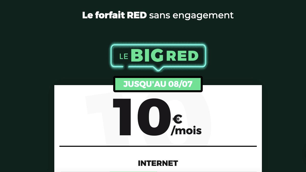 Forfait 4G Big RED 10 euros et 40 Go