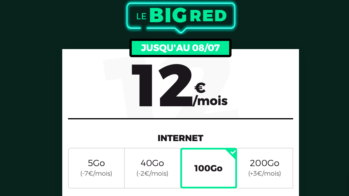 Le forfait 4G Big Red 100 Go
