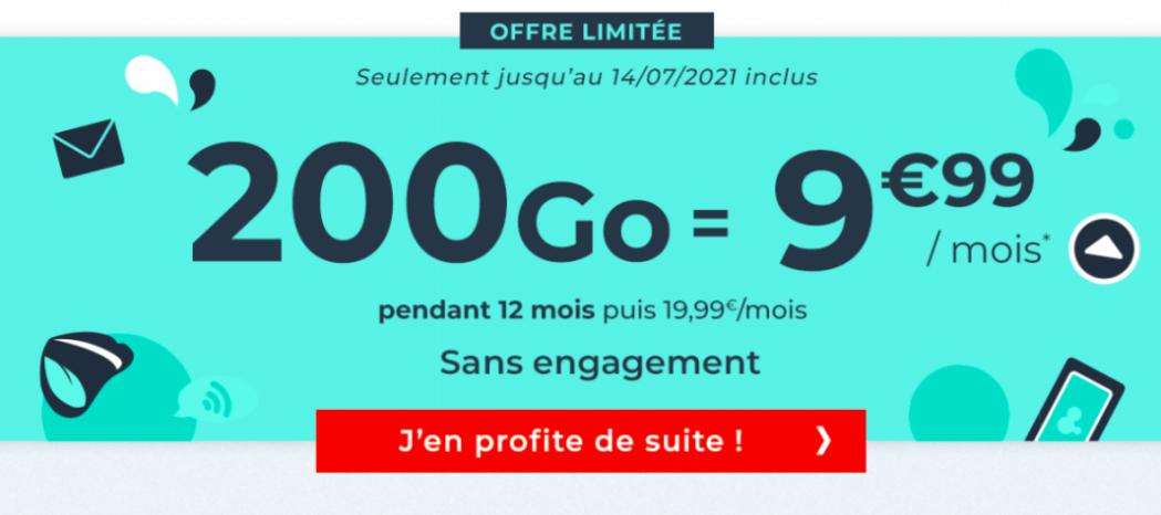 Le forfait 4G pas cher Cdiscount 200 Go pour 9,99 euros
