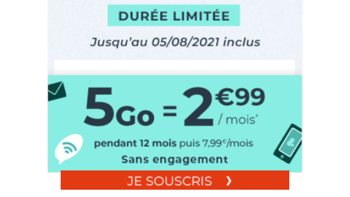 forfait mobile 5 Go cdiscount mobile