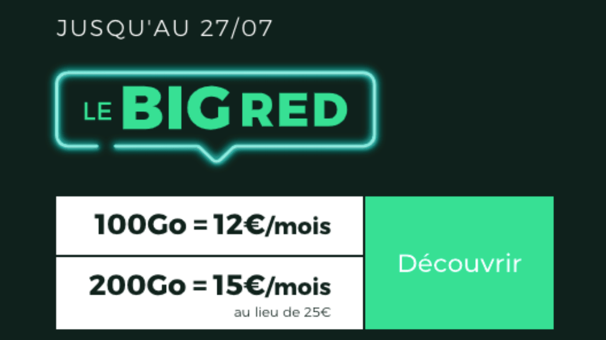 promo forfait 4G pas cher RED by SFR