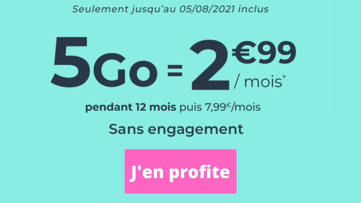 Forfait 4G trois euros