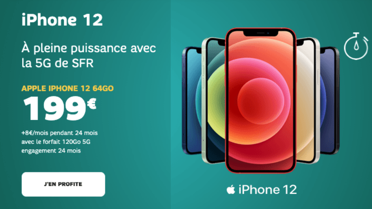 iPhone 12 avec forfait 5G 120 Go