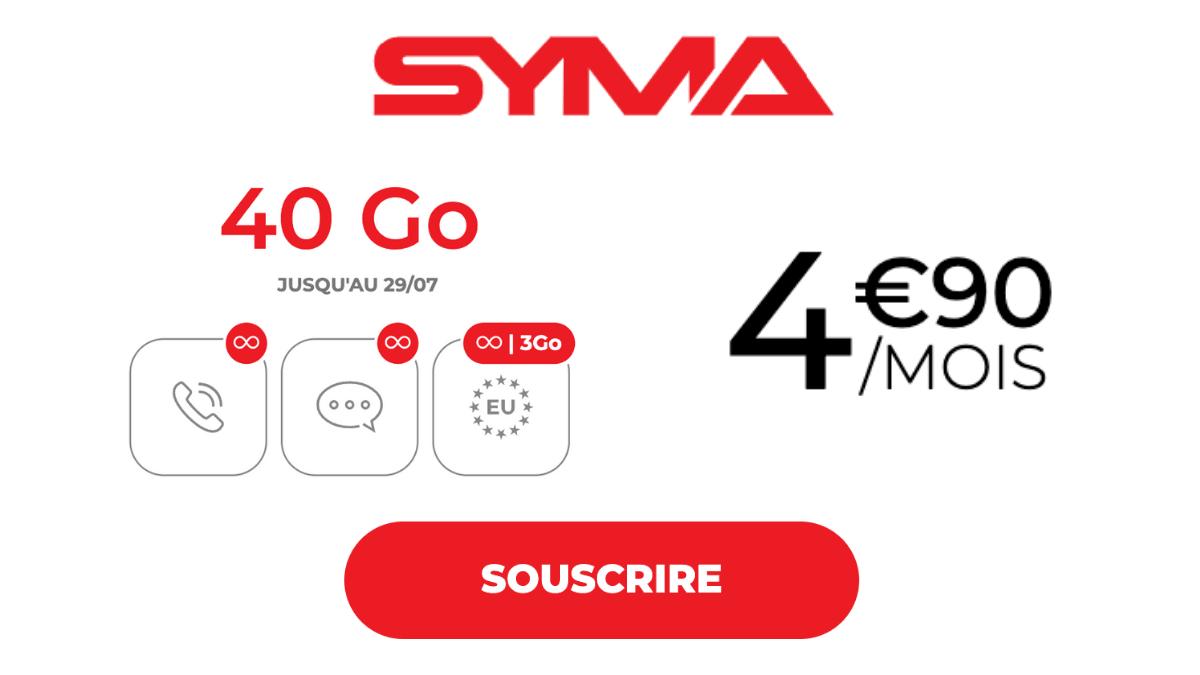 syma mobile 40 Go forfait pas cher