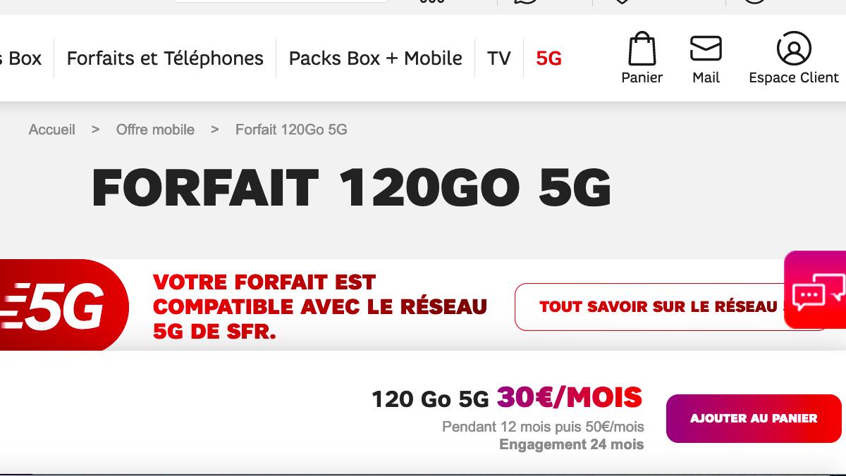 Le forfait SFR 120 Go en 5G
