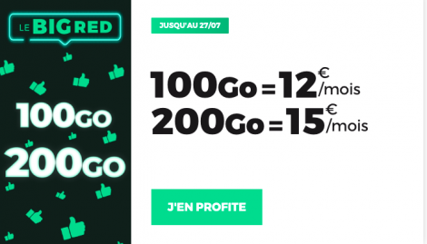 Promo RED by SFR 100 et 200 Go