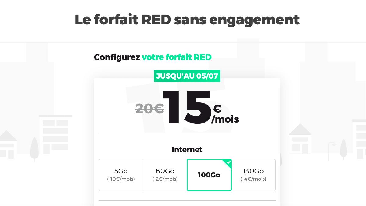 Le forfait Red, 15 euros pour 100 Go
