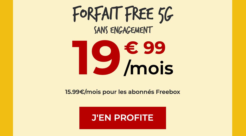 Forfait 5G sans engagement Free