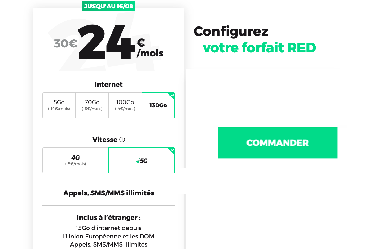 Forfait 5G sans engagement RED by SFR