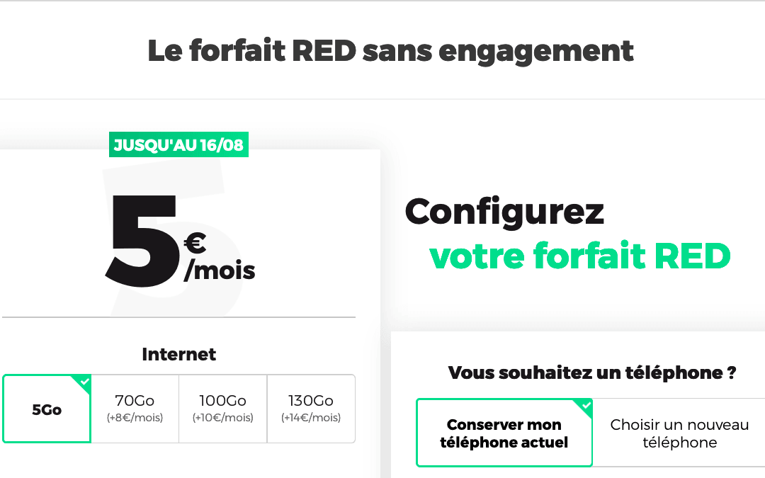 Le forfait RED by SFR 5 Go