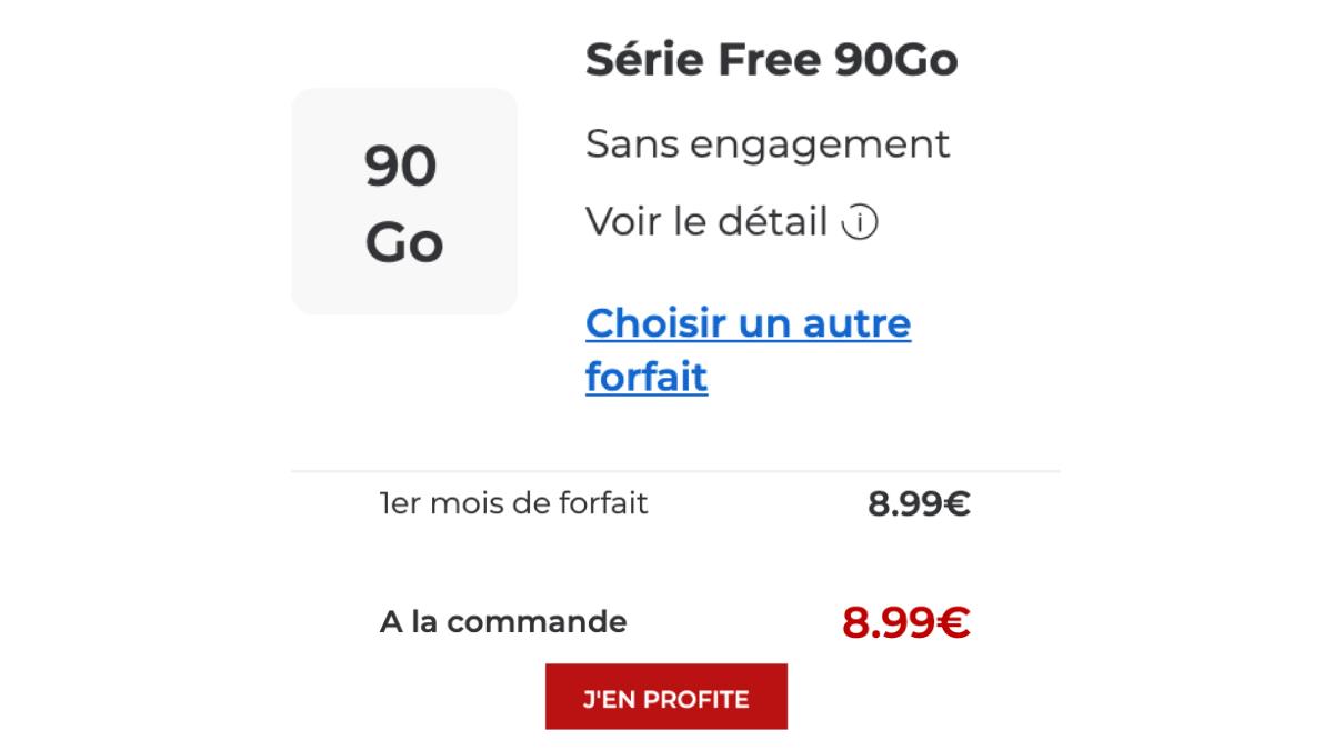 Promotion sur le forfait mobile 90 Go