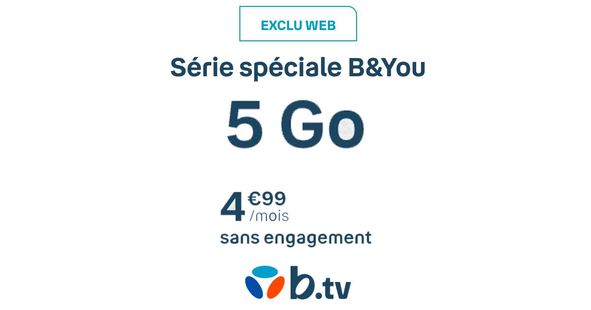 Le forfait mobile de B&You à 4,99€ pour 5 Go.