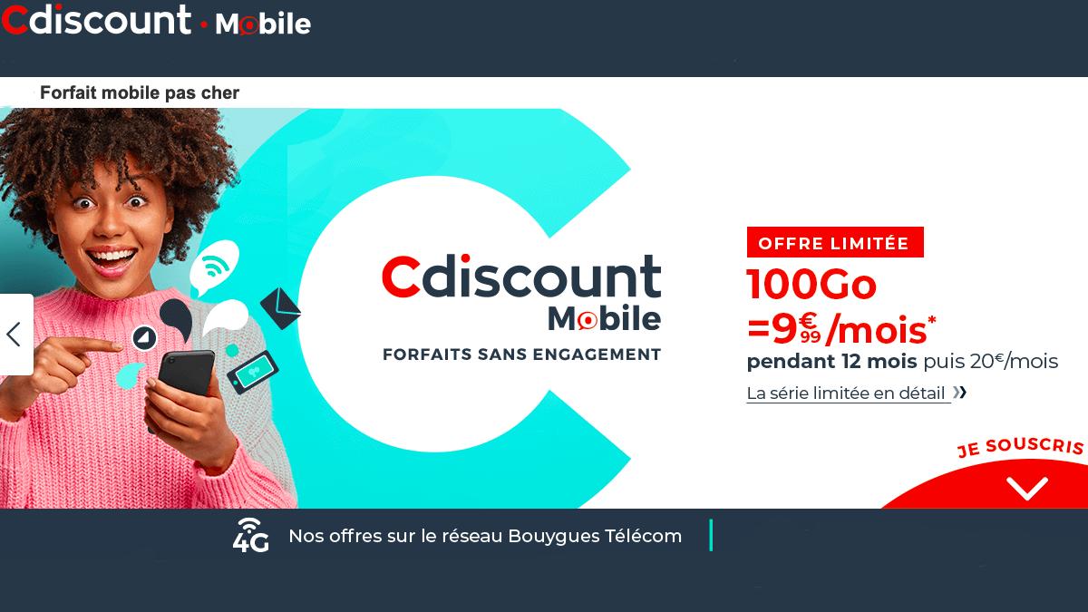 Le forfait pas cher Cdiscount mobile 100 Go