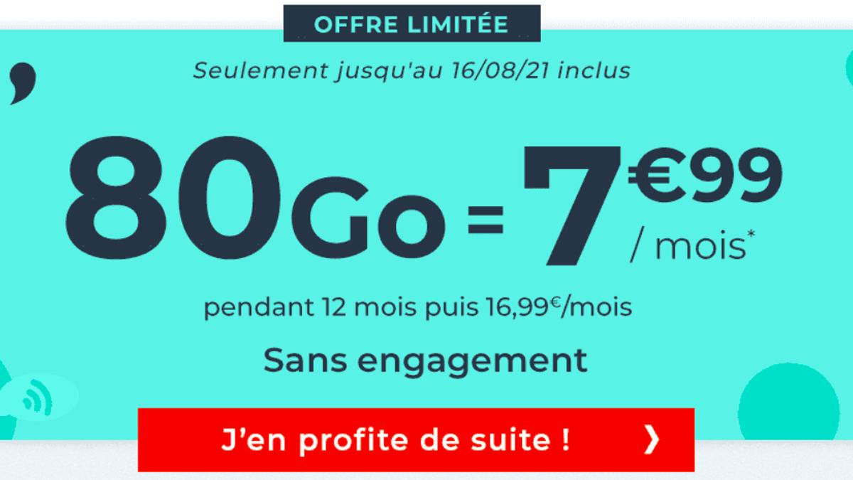 Le forfait pas cher de Cdiscount, 80 Go à 7,99€