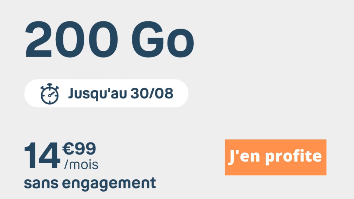 Forfait en promo prolongation 200 Go