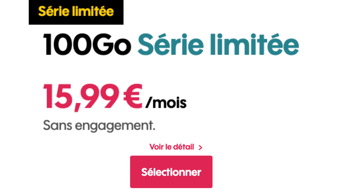 Promotion sur le forfait mobile 100 Go de Sosh