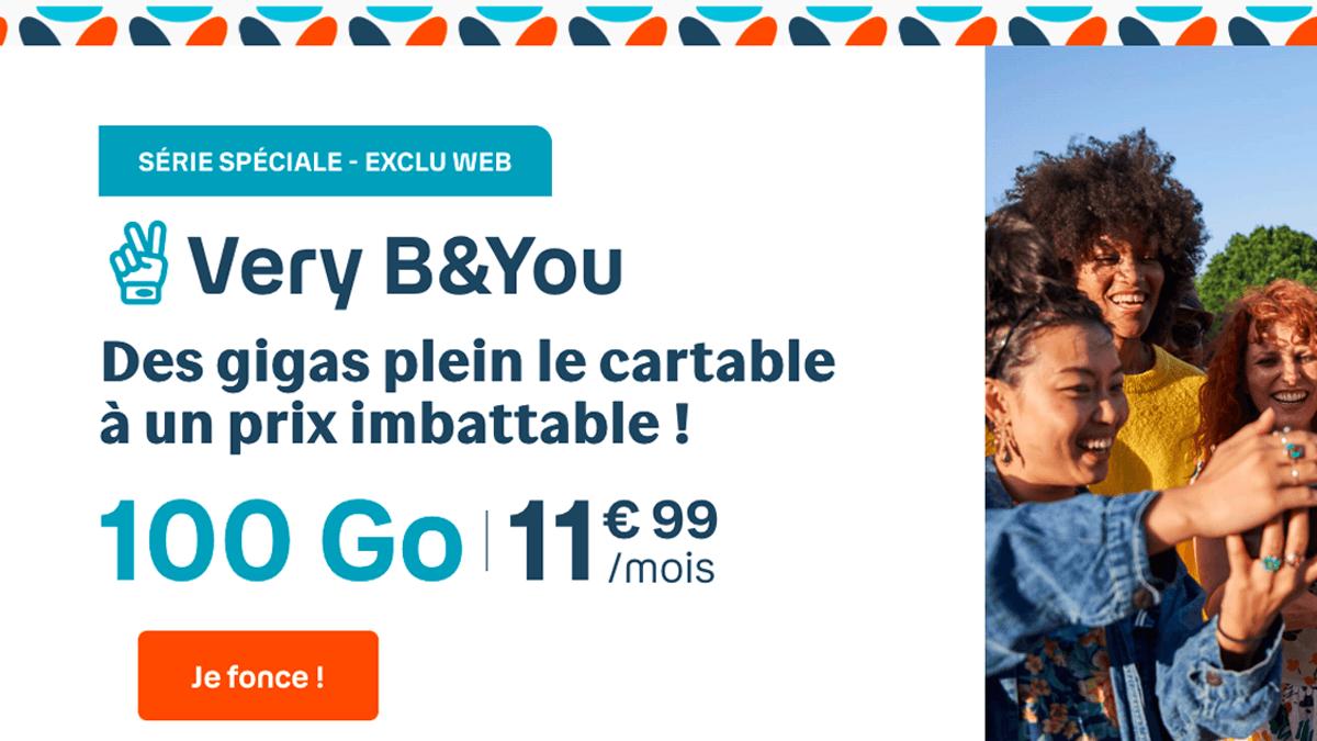 Le forfait 4G pas cher de B&You, 100 Go