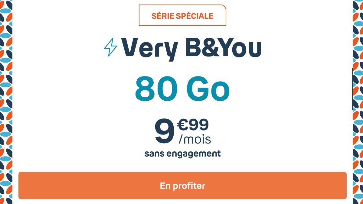 B&YOU passe par le réseau 4G Bouygues avec son forfait mobile 80 Go