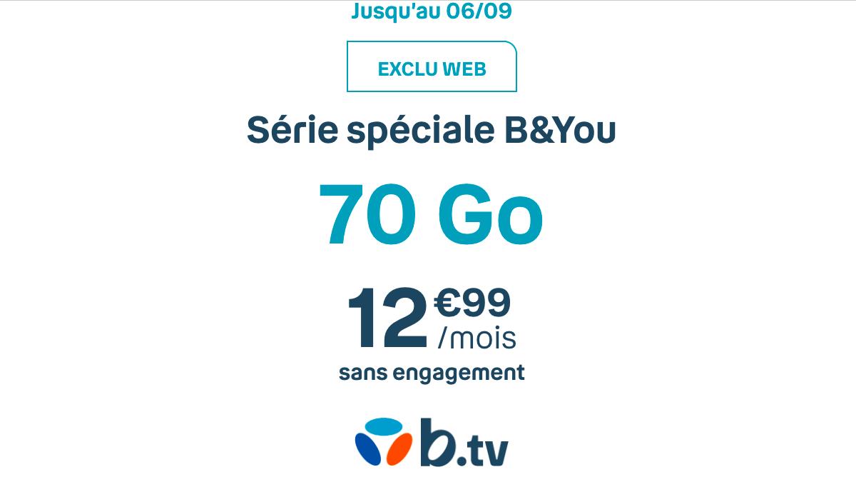 Le forfait mobile B&You à 70 Go