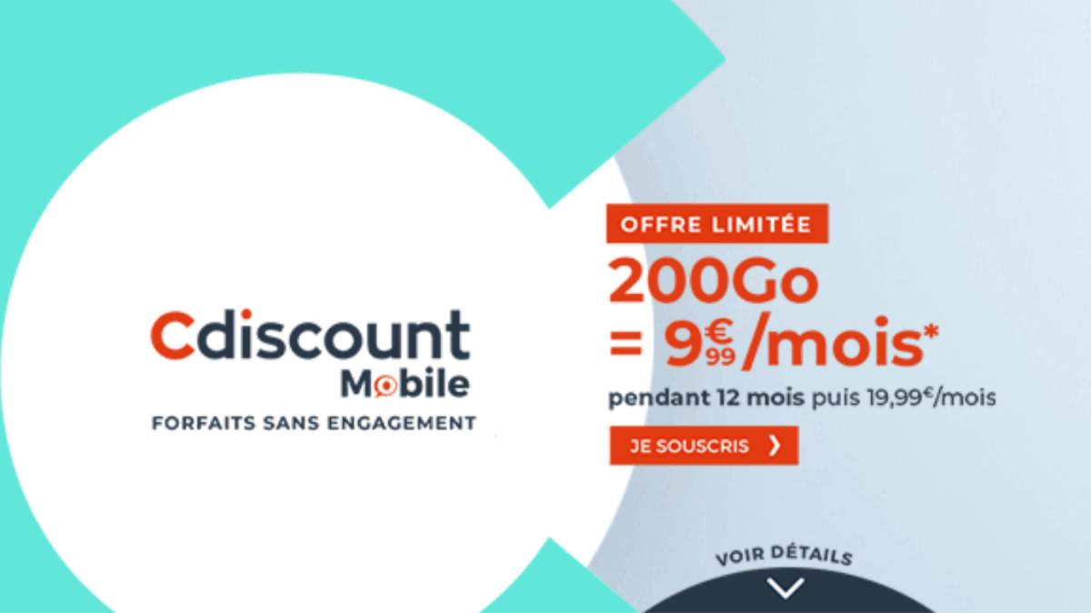 Promotion sur le forfait mobile 200 Go de Cdiscount Mobile
