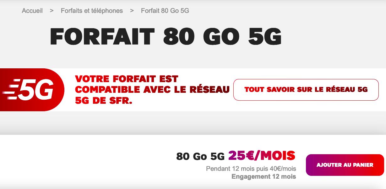 Forfait 5G SFR en promo