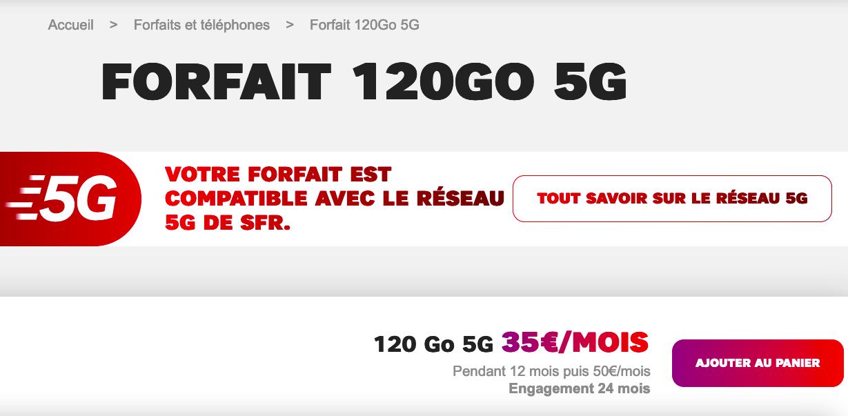 Forfait 5G SFR à prix cassé