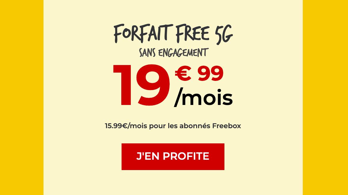 Promo forfait 5G sans engagement Free