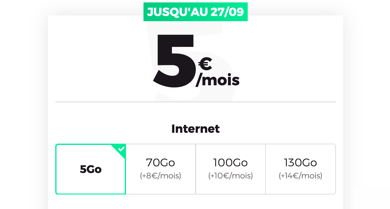 RED by SFR forfait mobile 5 Go