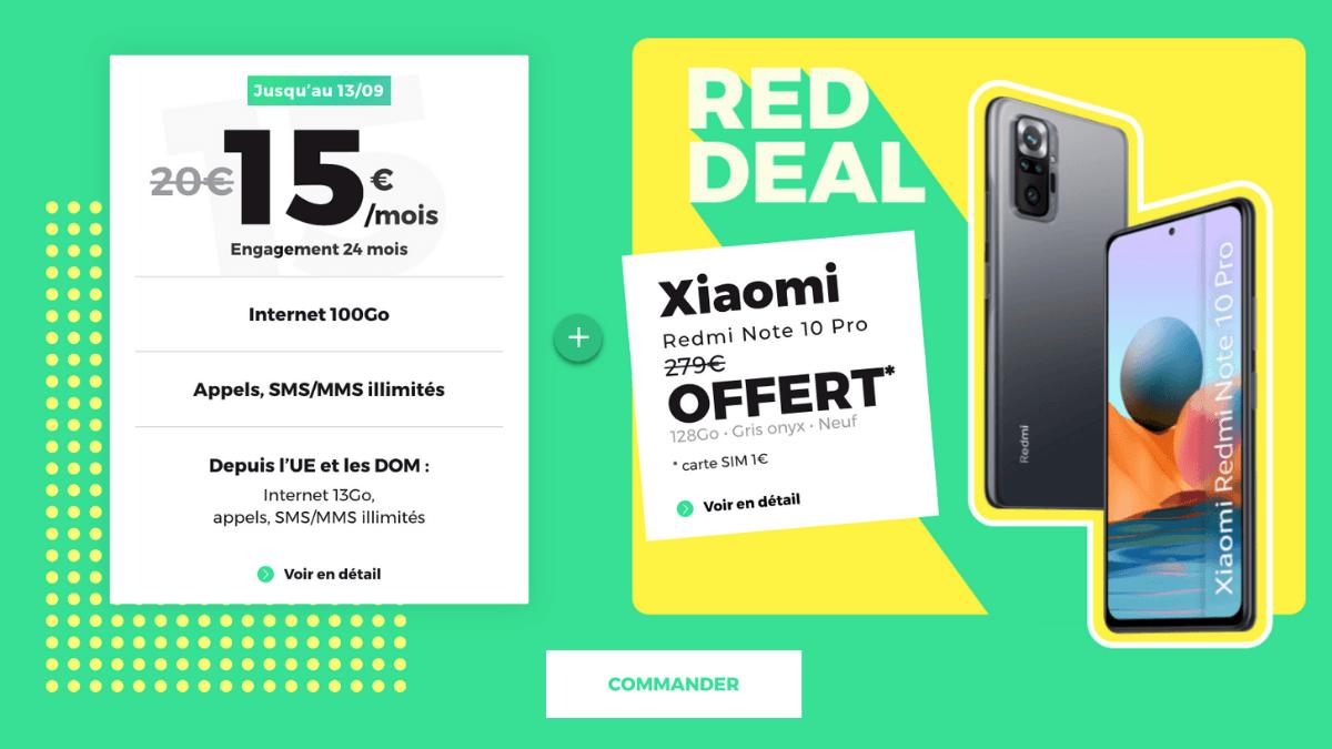 Forfait 100 Go + Xiaomi REDmi Note 10 offert