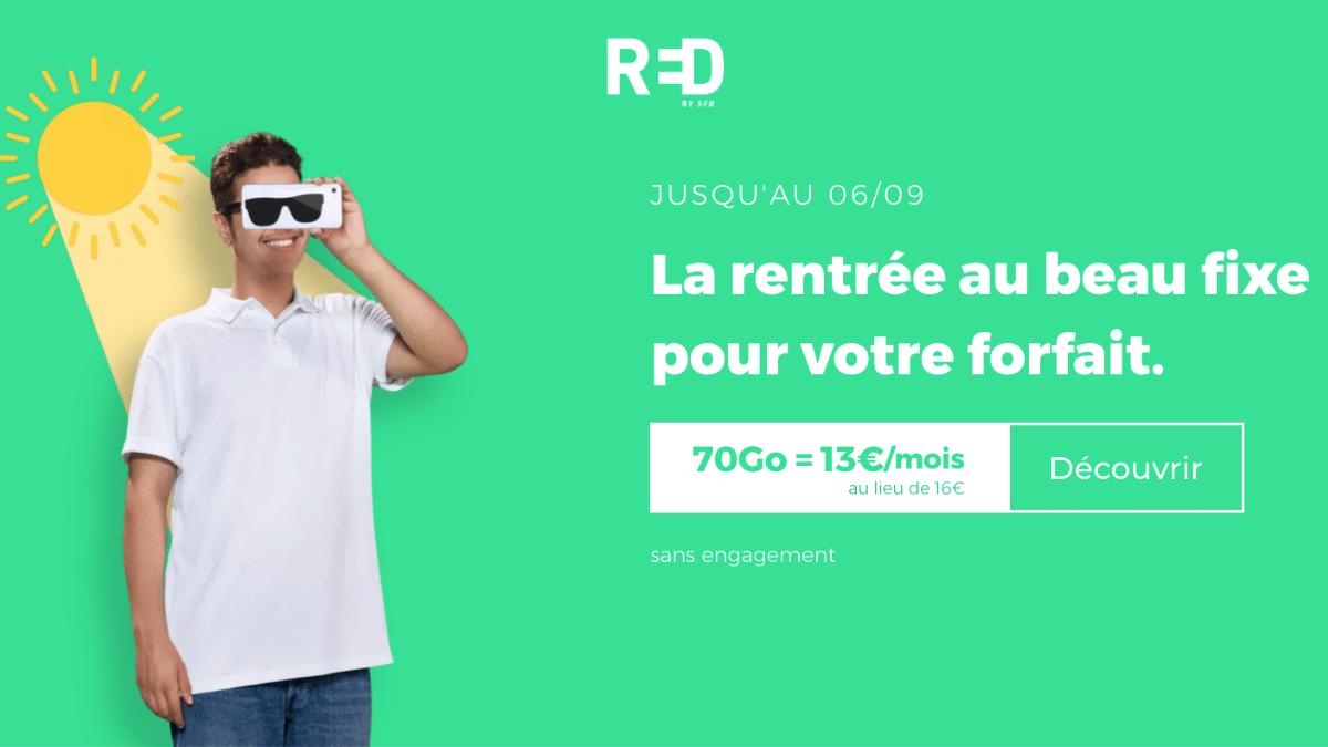 RED by SFR met en avant son forfait 70 Go