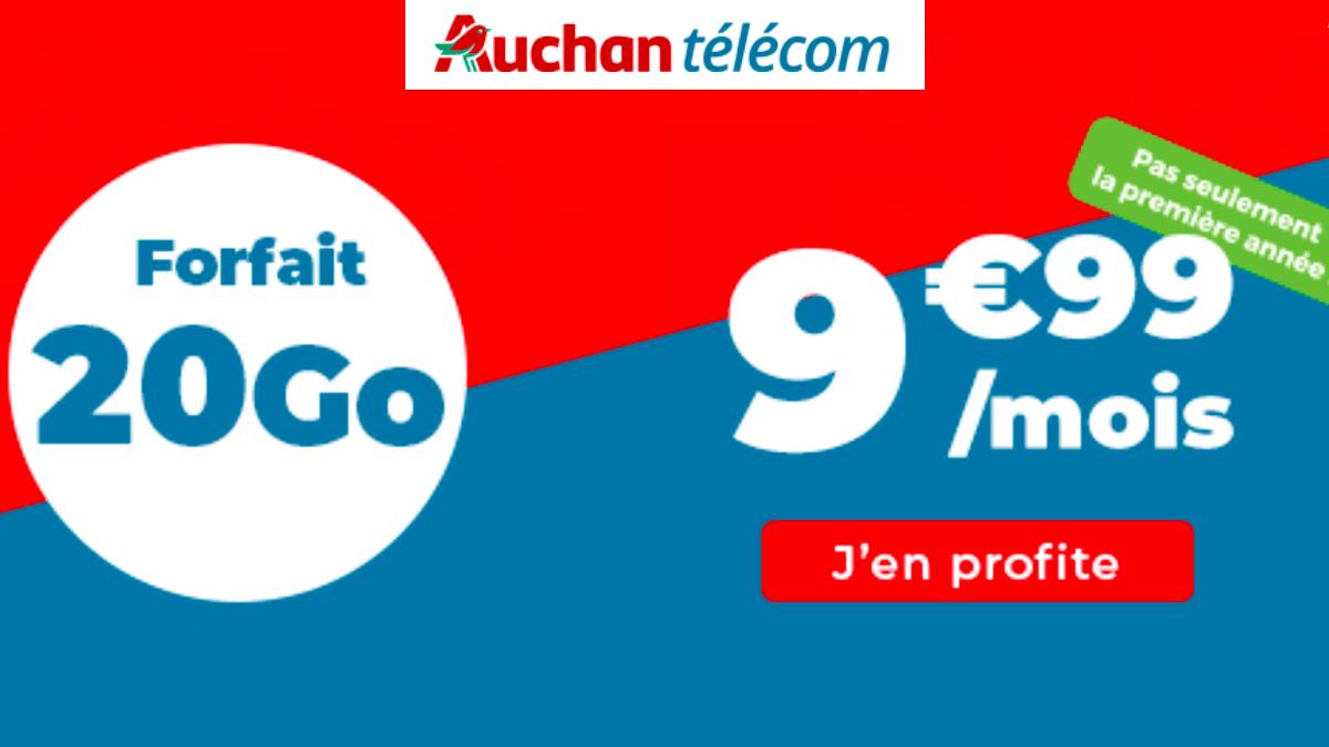 Le forfait mobile 20 Go de 4G d'Auchan Telecom