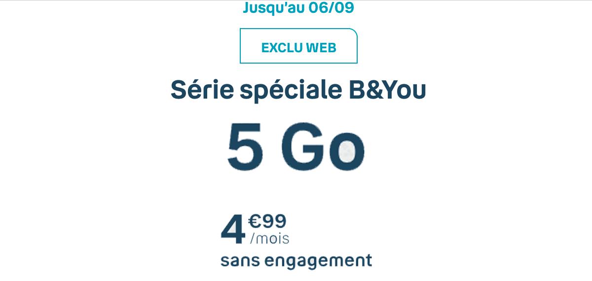 Le forfait mobile de B&You, 5 Go pour 5€